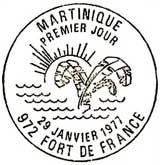Oblitération 1er jour à Fort-de-France le 21 janvier 1977