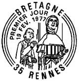 Oblitération 1er jour à Rennes le 2 février 1977
