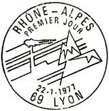 Oblitération 1er jour à Lyon le 21 janvier 1977