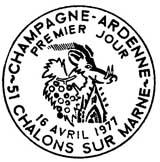 Oblitération 1er jour à Chalon-sur-Marne le 16 avril 1977