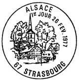 Oblitération 1er jour à Strasbourg le 26 février 1977