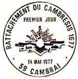 Oblitération 1er jour à Cambrais le 14 mai 1977