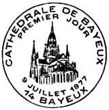 Oblitération 1er jour à Bayeux le 9 juillet 1977