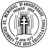Oblitération 1er jour à Paris et Colombey-les-Deux-Eglises le 18 juin 1977