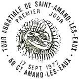 Oblitération 1er jour à Saint-Amant-les-Eaux le 17 septembre 1977