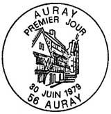 Oblitération 1er jour à Auray le 30 juin 1979