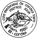 Oblitération 1er jour à Cordes le 5 avril 1980