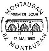 Oblitération 1er jour à Montauban le 17 mai 1980
