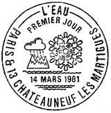 Oblitération 1er jour à Châteauneuf-les-Martigues le 14 mars1981