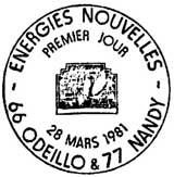 Oblitération 1er jour à Odeillo et Nandy le 28 mars 1981