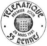 Oblitération 1er jour à Rennes le 28 mars 1981