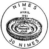 Oblitération 1er jour à Nimes le 11 avril 1981