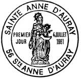 Oblitération 1er jour à Auray le 4 juillet 1981