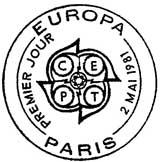 Oblitération 1er jour à Paris et Strasbourg le 2 mai 1981