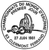 Oblitération 1er jour à Clermont-Ferrant le 27 juin 1981