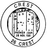 Oblitération 1er jour à Crest le 28 novembre 1981