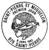 Oblitération 1er jour à Saint-Pierre le 9 janvier 1982