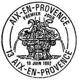 Oblitération 1er jour à Aix-en-Provence le 19 juin 1982