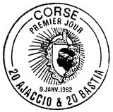 Oblitération 1er jour à Ajaccio et Bastia le 9 janvier 1982
