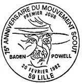 Oblitération 1er jour à Lille le 20 février 1982