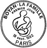 Oblitération 1er jour à Paris le 18 septembre 1982