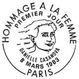 Oblitération 1er jour à Paris le 8 mars 1983