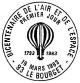 Oblitération 1er jour à Le Bourget et Annonay le 19 mars 1983