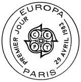 Oblitération 1er jour à Paris et Strasbourg le 29 avril 1983