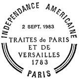 Oblitération 1er jour à Versailles, Paris et Washington le 2 septembre 1983