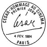 Oblitération 1er jour à Paris le 4 février 1984