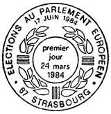 Oblitération 1er jour à Strasbourg le 24 mars 1984