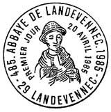 Oblitération 1er jour à Landévennec le 20 avril 1985