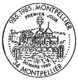 Oblitération 1er jour à Montpellier le 30 mars 1985