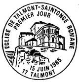Oblitération 1er jour à Talmont le 15 juin 1985