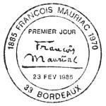 Oblitération 1er jour à Bordeaux le 23 février 1985