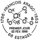 Oblitération 1er jour à Estagel le 22 février 1986