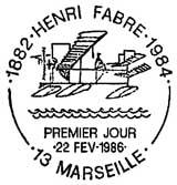 Oblitération 1er jour à Marseille et La Terrasse le 22 février 1986