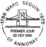 Oblitération 1er jour à Amonay le 22 février 1986