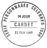 Oblitération 1er jour à Thury-Harcourt le 22 février 1986