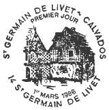 Oblitération 1er jour à Saint-germain-de-Livet le 1 mars 1986
