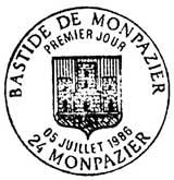 Oblitération 1er jour à Monpazier le 5 juillet 1986