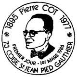 Oblitération 1er jour à Coise le 1 mars 1986