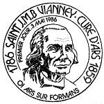 Oblitération 1er jour à Curé d'Ars, Ars-sur Formans et Dardilly le 3 mai 1986