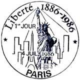 Oblitération 1er jour à Paris et New-York le 4 juillet 1986