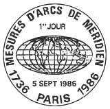 Oblitération 1er jour à Paris le 5 septembre 1986