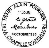 Oblitération 1er jour à La Chapelle-d'Angillon le 4 octobre 1986'