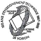 Oblitération 1er jour à Voiron le 5 octobre 1986