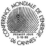 Oblitération 1er jour à Cannes le 5 octobre 1986