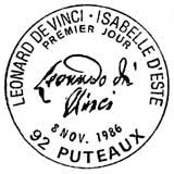 Oblitération 1er jour à Puteaux le 8 novembre 1986