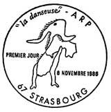 Oblitération 1er jour à Strasbourg le 8 novembre 1986